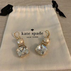 EUC Kate Spade Rhinestone and Pearl Drop Earrings